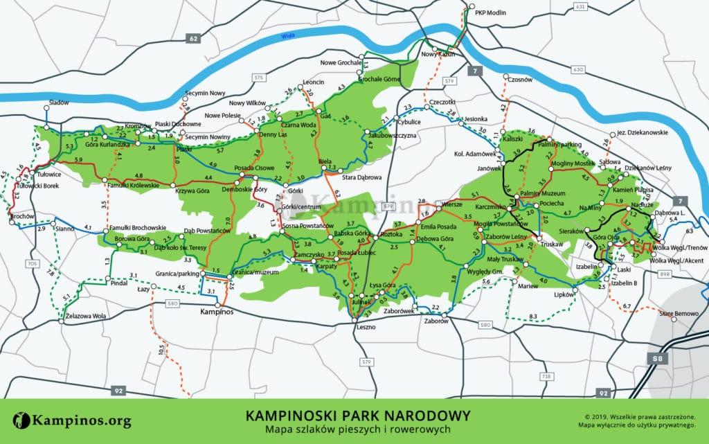 Mapa szlaków pieszych i rowerowych w Kampinoskim Parku Narodowym koło Warszawy